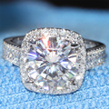 5 Carat ct Engagement Wedding Lab Grown Moissanite Diamond Ring With Real Diamond Accents Genuine 14K 585 White Gold