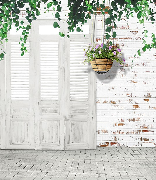 5x10ft Indoor Old White Door Brick Wall Floordrop Vintage