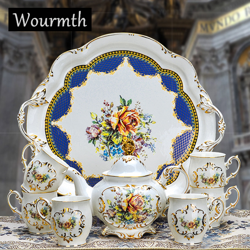 Wourmt Porcelain coffee cup set ivory porcelain flower design outline in gold 8 pcs coffee set coffee pot coffee cup set tea tra