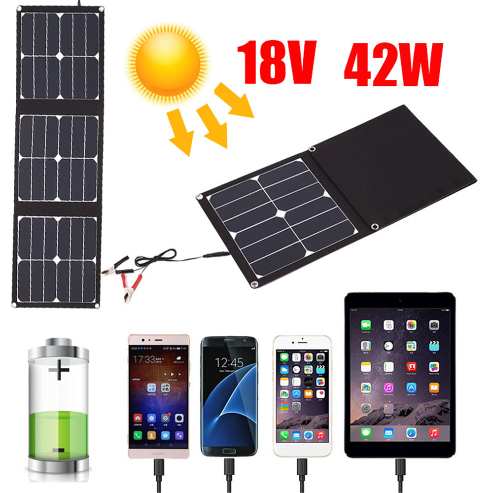 Cewaal Folding Solar Panel Emergency Power Supply Durable USB+DC Port 42W 18V Solar Light Phone Charger Waterproof Outdoor