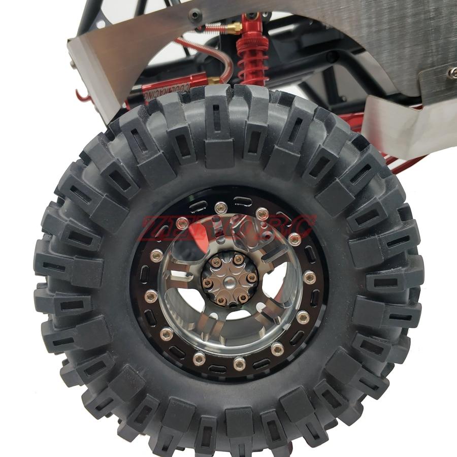 RC 1/10 CAR AXIAL WRAITH RR10 TRX4 JEEP SCX10 2.2 Inch Beadlock Wheels Rims (4) Gun Metal