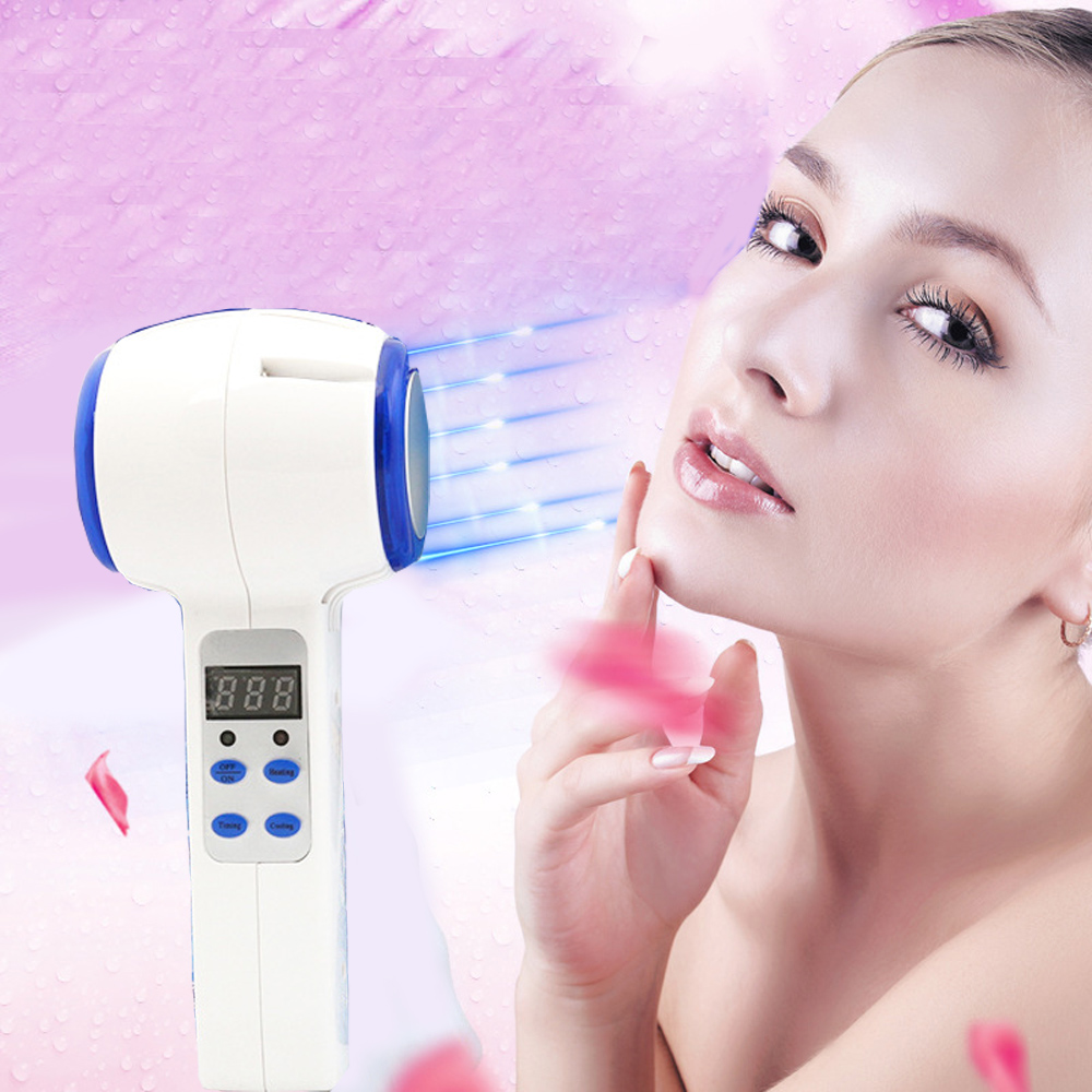 Face Care Device Hot Cold Hammer Ultrasonic Cryotherapy Blue Photon Acne Treatment Skin Beauty Massager Facial Skin Care Tools usb cold hot beauty machine ultrasonic skin care device for pore contraction beauty tools