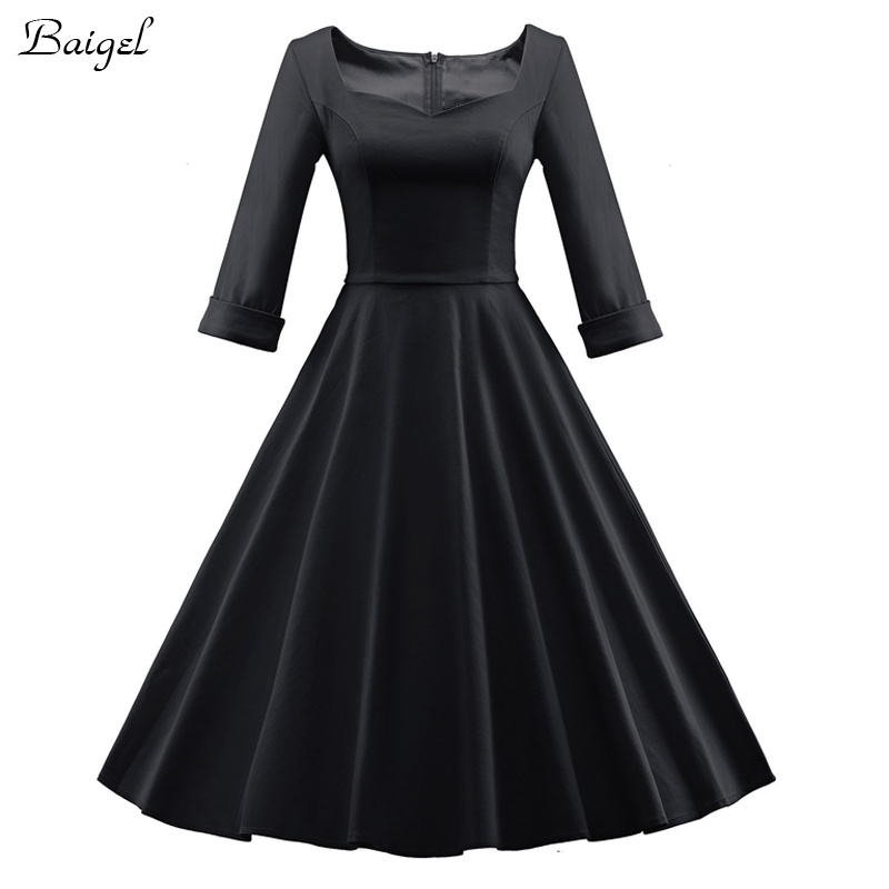 Womens Elegant Red Burgundy Black Autumn Winter Dress 50s ...