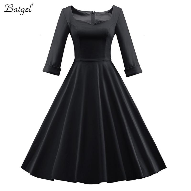 Womens Elegant Red Burgundy Black Autumn Winter Dress 50s