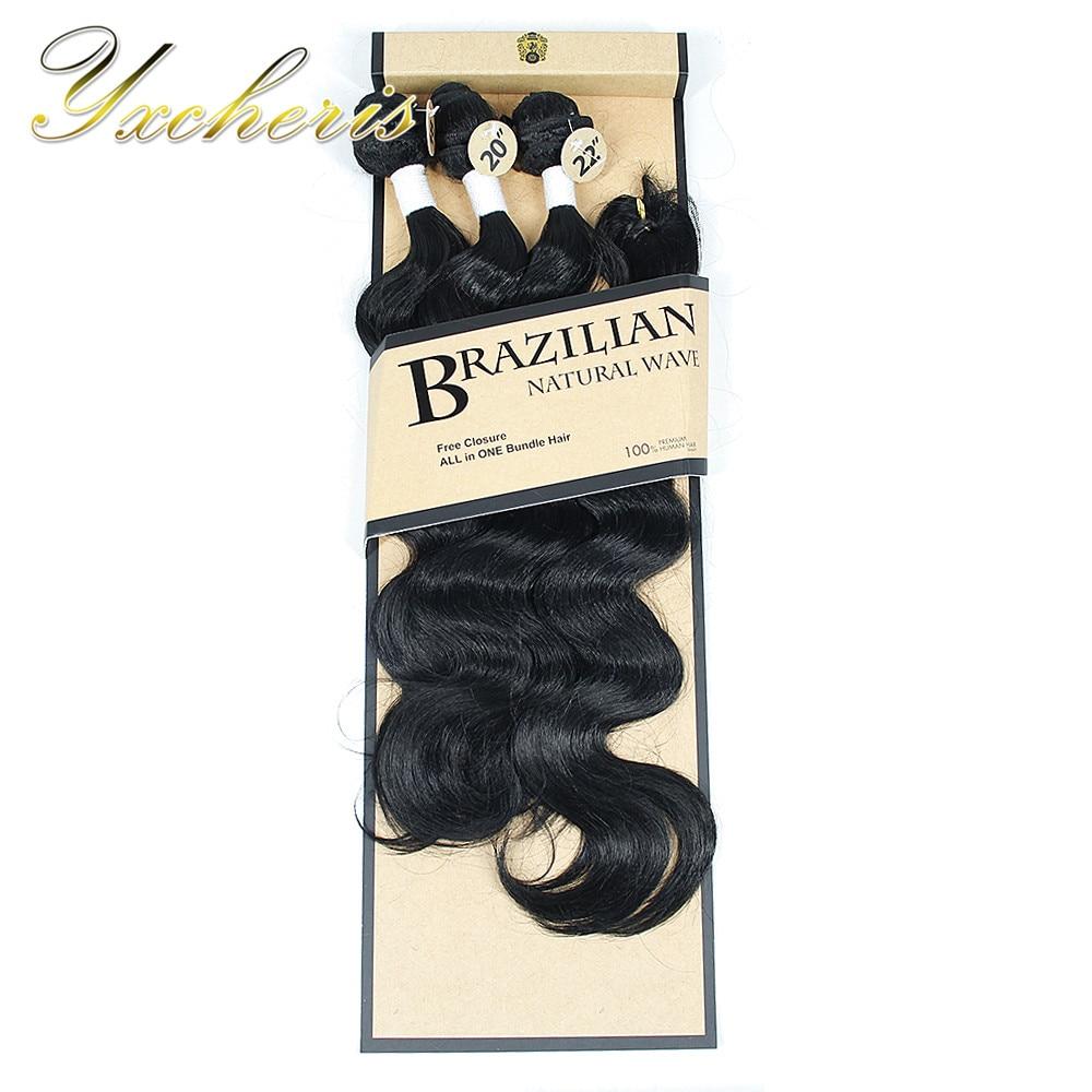 YXCHERISHAIR Brazilian Body Wave 3 Paquetes con cierre de encaje - Cabello sintético