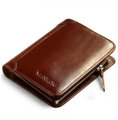 ФОТО Wallet men short section of leather 3 fold zip card bit young vertical driving license driver's license leather card package