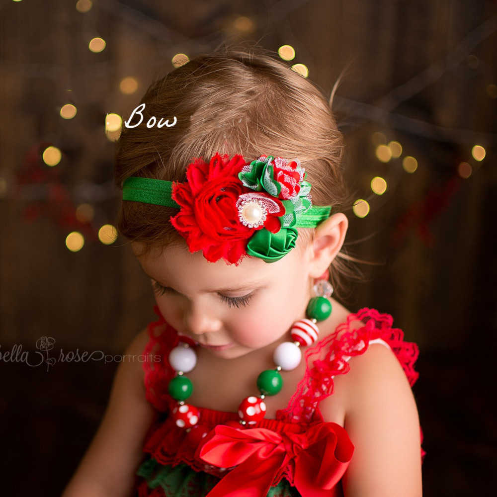 Baby Hair Accessories Girls Big Flower Handmade Headband Elastic Christmas Red Green Pearl Headbands