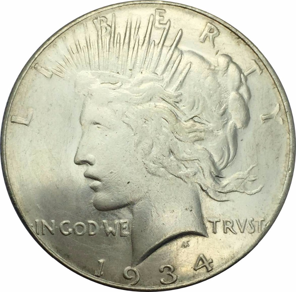 1934 S Peace One Dollar Liberty Brass Silver Plated Copy Coin Can Choose The Different Color United States Of America ...