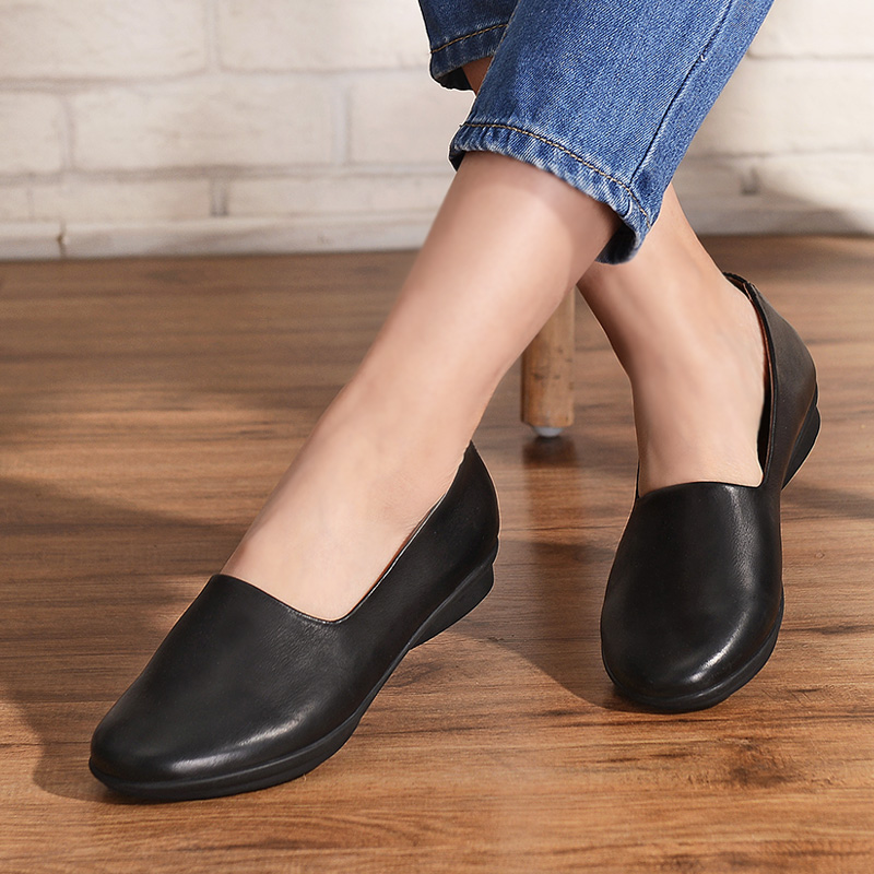 2017 High Quality of Handmade Womens Shoes Spring/Summer Soft Full Grain Leather Round Toe Flat Big Size Women Shoes 40-43 new 2017 spring summer women shoes pointed toe high quality brand fashion womens flats ladies plus size 41 sweet flock t179