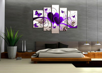 5 Pieces No Frame Canvas Painting Modern Modular Picture Wall Art Purple Hearts Canvas Paintings Wall