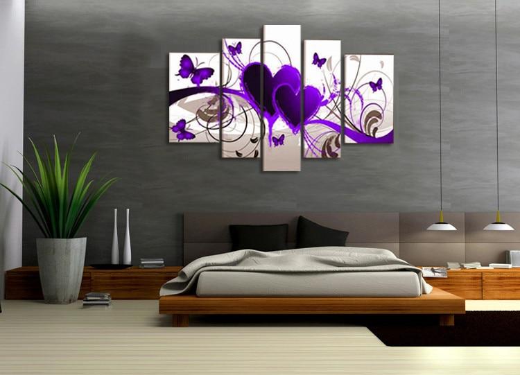 5 Stcke Leinwand Malerei Moderne Modulare Bild Wandkunst Lila Herzen Gemlde Wand Dekor Fr