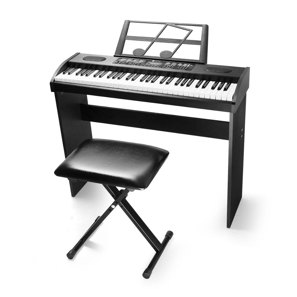 Electronic Piano Keyboard Digital Bundle 61 Key LCD Display with X Style Bench FROM US CA