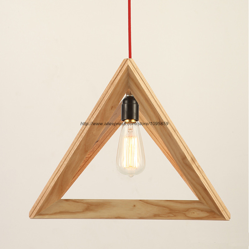 Free Shipping Modern Wooden Triangle Shuttle Pendant Light Lamp Wood Color Ceiling Fixtures Dining Room Hanging Lighting