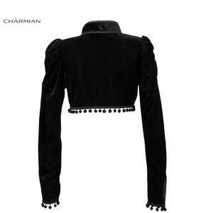 Image 4 - Charmian Womens Medieval Gothic Black Velvet Stand Collar Long Sleeve Midriff Shrug Bolero with Pom poms