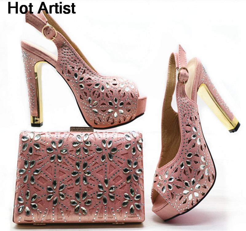 Hot Artist African Design Rhinestone Pink Color Shoes And Bag Set New Nigerian Woman High Heels Shoes With Bag Set For Party G49 hot artist italian design shoes with matching bag set for wedding african style rhinestone high heels shoes and bag set tx 998