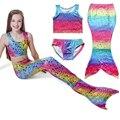 Rainbow color Dot Set Swimwear Maiô de Natação Traje Cosplay New Kids Meninas Natação Sereia Cauda Biquíni