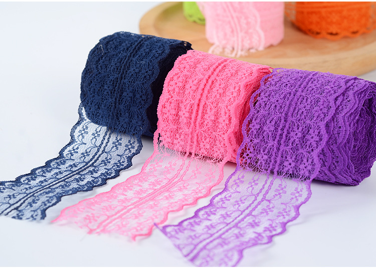 2Meters/Lot 4.5cm Lace Tape DIY Apparel Sewing Fabric White Black Blue Pink Purple Red Lace Trimming Gift Packaging Lace Ribbon