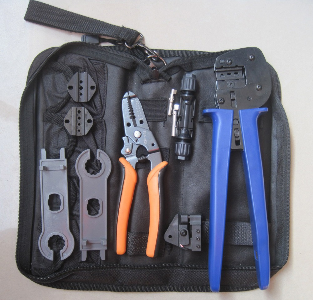 solar mc4 crimping tool set,pv solar panel crimping tool kit with MC3,Tyco crimping die set,cable stripper,MC4 spanner solar panel tool kit ly k2546b 1 pv tool set mc4 crimping tool set only including mc3 crimping die set mc4 mc3 crimping tool