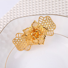 6PCS metal flower Western napkin ring Hotel set table Wedding wedding buckle