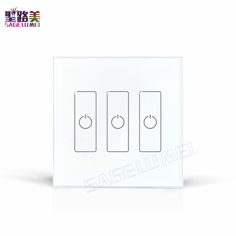 Free Shipping DALI Dimmer Led Dimming Driver 86mm Touch Panel 3 CHannel Controller DA3 Wall Mount DALI Digital LED Driver free shipping dali dimmer