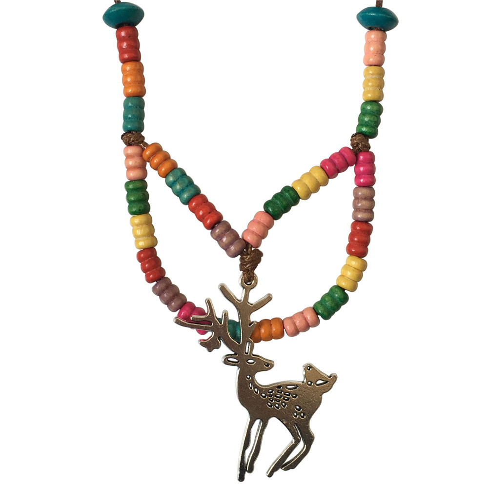 Handmade Jewelry Fashion Colorful Wood Beads Necklace Sweater Chain Vintage Tibetan Silver Elk Deer Pendants Christmas Gifts