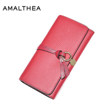 AMALTHEA Genuine Leather Wallet Women Purses Coin Purse Womens Wallets And Purses Women Wallets Woman Wallet Long Clutches AMG78
