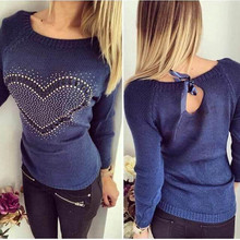 Women Knitted Sweater Pullover 2018 Spring Sexy Off Shoulder Diamond Heart Pattern Bowknot Thin Pull Femme Sexy Jumper  S-2XL