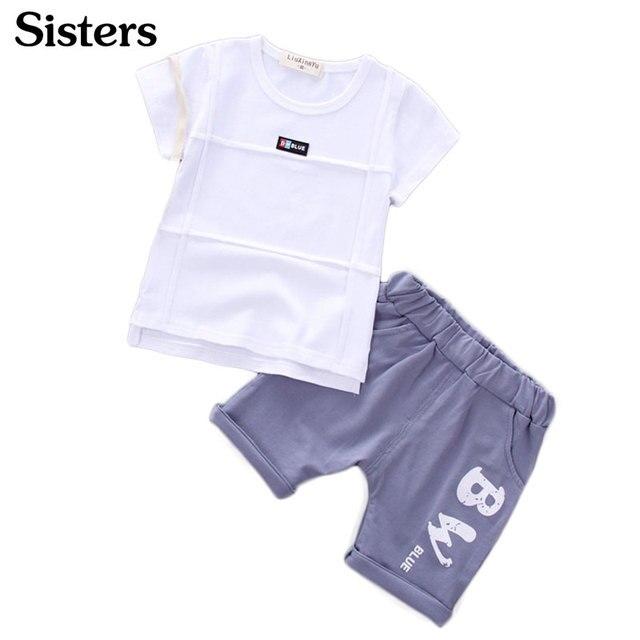 Дети короткий рукав костюм шорты Лето 2017 г. мода мальчиков Топ 1-2-3-4 года детская футболка штаны с принтом два комплекта бесплатная доставка