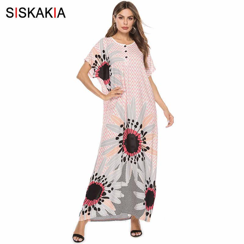 67b141f66b693 Siskakia Stripe Print Maxi Long Dress Women Elegant Loose Bohemia ...