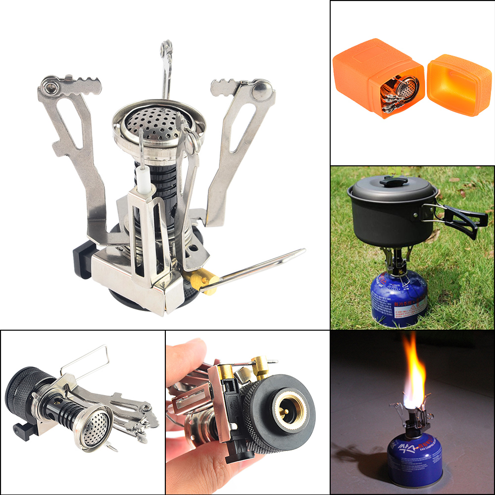 Portable Mini Ultralight Backpacking Canister Outdoor Camping Stove with Piezo Ignition Camping Stove Hiking Picnic Cookware mini portable butane stove for outdoor travel camping picnic silver black page 2 page 4