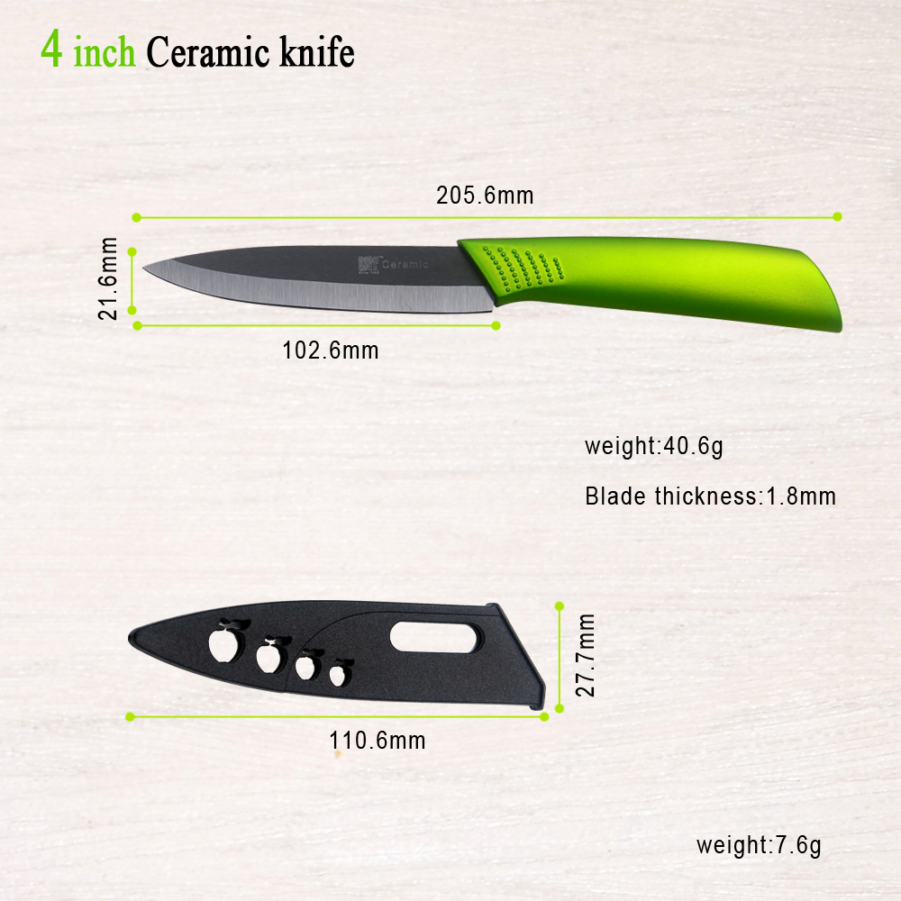 Green Kitchen Knife: Black Blade Green Handle New Zirconium Oxide Ceramic
