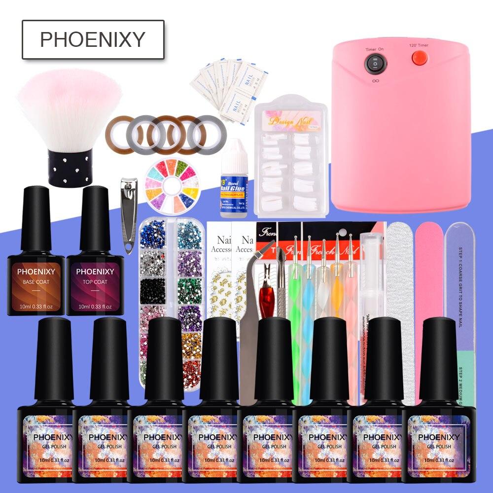 Full Nail Polish Set 36W UV Dryer Lamp For 10ml Gel Polish Nail Art Tools Nail Glitter Kit Dotting Pen For Manicure Tools Set