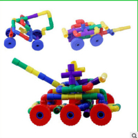 Children Water Pipe Plug Match Building Blocks With Wheel Colorful Self Locking Bricks Tunnel Plastic Block