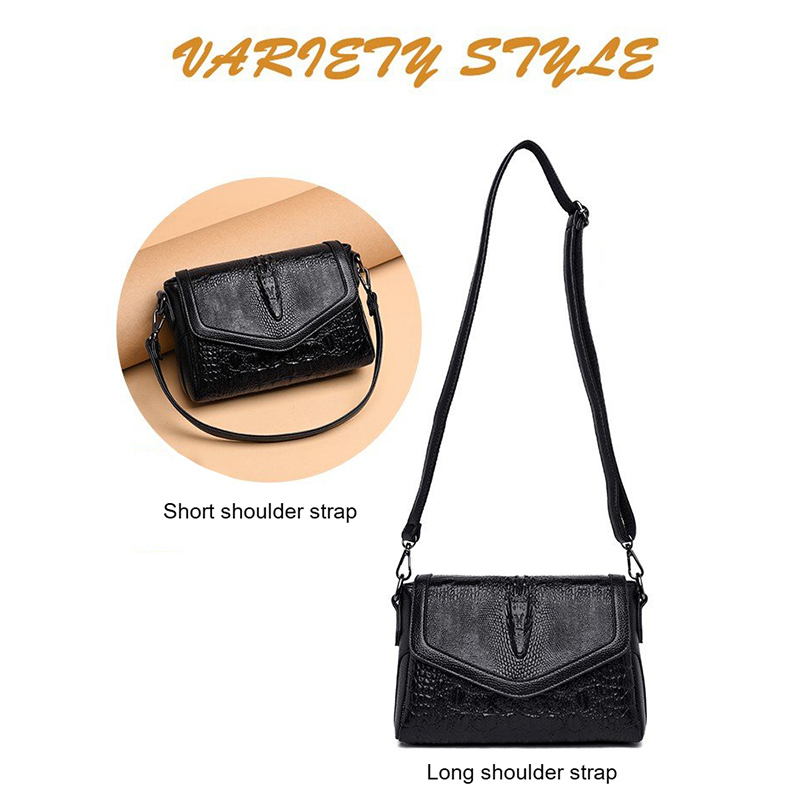 Crocodile Pattern Crossbody Bags for Women 2019 New Shoulder Bag PU Leather Fashion Messenger Bag With Detachable Shoulder Strap in Shoulder Bags from Luggage Bags