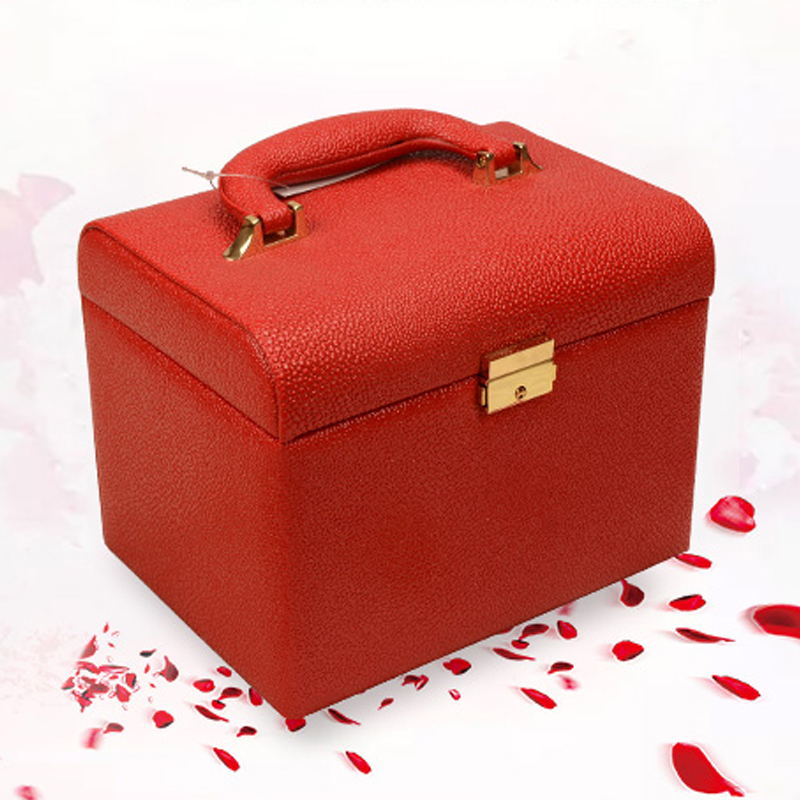 Hot selling PU leather Make up Box with mirror Makeup Case Beauty Case Cosmetic Bag Lockable Jewelry Box for ladys gift