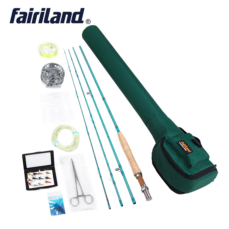 Fly Fishing set 3 4 Starter kit 2 7m carbon fishing rod 80mm aluminum fishing reel
