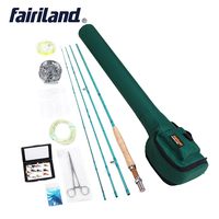 Fly Fishing set 3/4 Starter kit, 2.7m carbon fishing rod , 80mm aluminum fishing reel, fly fishing accessories with rod case bag