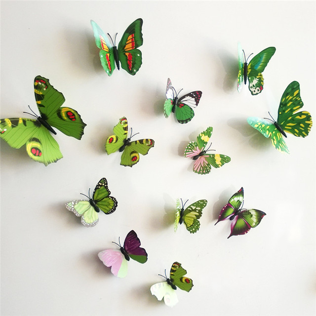 12pcs PVC 3D Butterfly Wall Decor Cute Butterflies Wall Stickers Art Decals  For Kids Room Art
