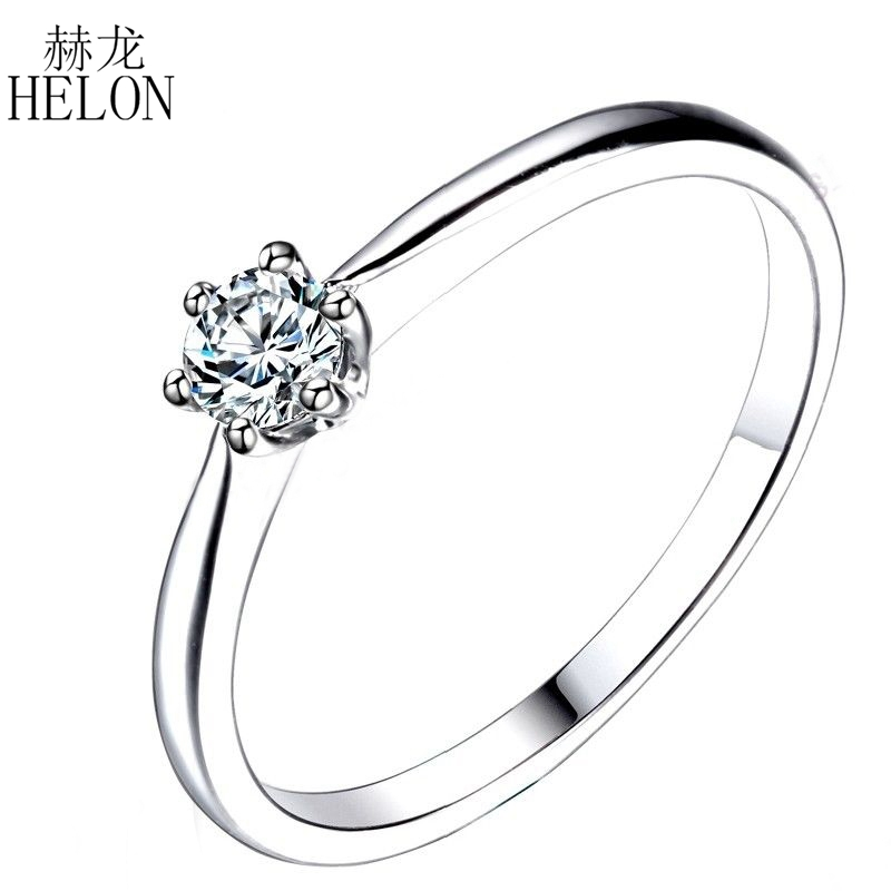 HELON Solid 14K White Gold Round Moissanite Engagement Ring Band lab Diamond Solitaire Engagement Wedding Women Trendy Jewelry transgems 1 6 ctw carat lab grown moissanite diamond eternity band solid 14k yellow and white gold engagement anniversary ring