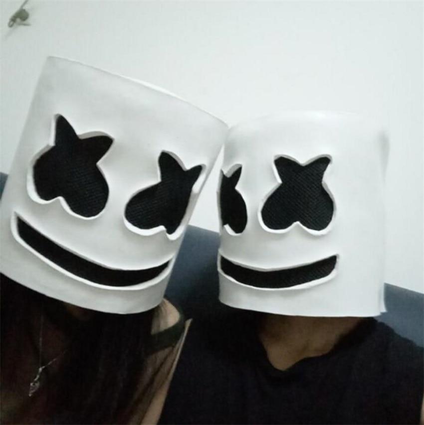 Halloween Cosplay DJ Marshmello White Mask Helmet Costume Accessory Full Head Latex Prop