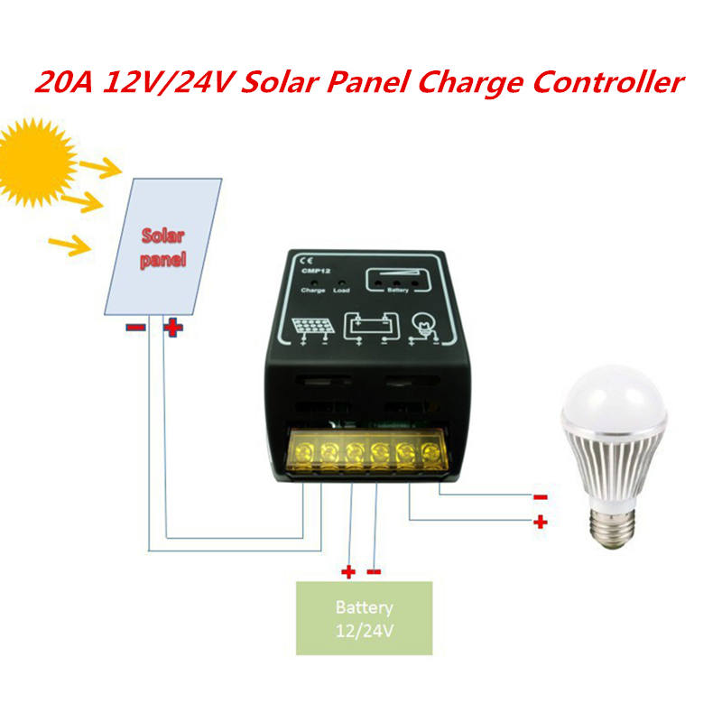 20A 12V 24V Solar Panel Charge Controller for 12V 20W 30W 50W 80W 100W Solar Battery Regulator Safe Protection New Solar Cell