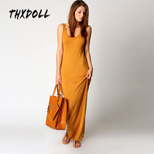 Hot selling women fashion sleeveless summer casual maxi dress tank long