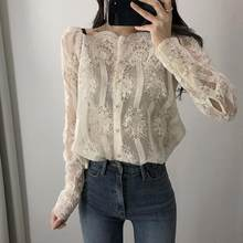 Spring Summer Women Sexy Slash Floral Embroidery Blouses Single Breasted Lace Long Sleeve Organza Tops Shirts blusa DV107(China)