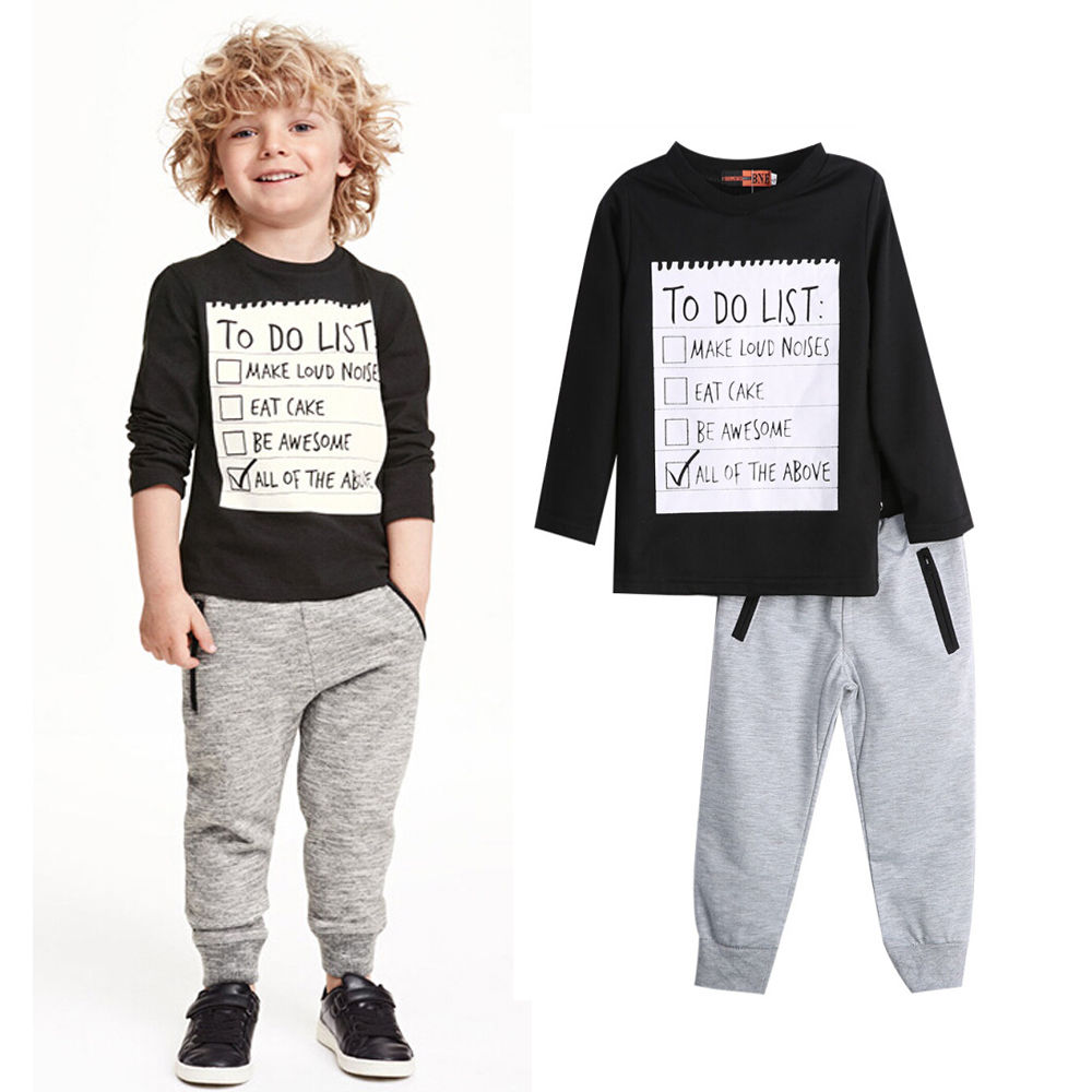 Baby Boy Clothing 2016 2pcs Kids Black Cotton Long Sleeve Shirt Sweater Elastic Waist Pants Outfit In Sets From Mother On