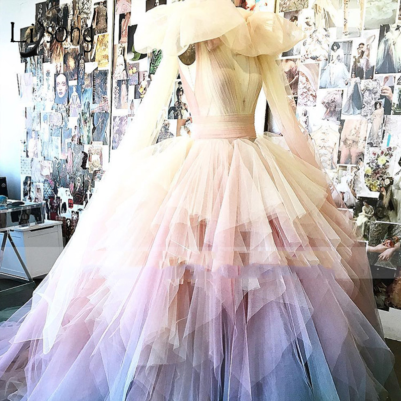 2019 Chic Rainbow Tulle Prom Dresses Colorful Puffy Tutu Ball Gowns Tiered Long Tiered Prom Gowns Sexy V-neck Party Dress