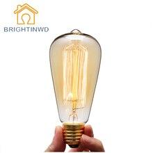 BRIGHTINWD Retro Lamp St64 Vintage Edison Bulb E27 Incandescent Bulb 220v Holiday Lights 40w Filament Lamp Lampada Home Decor