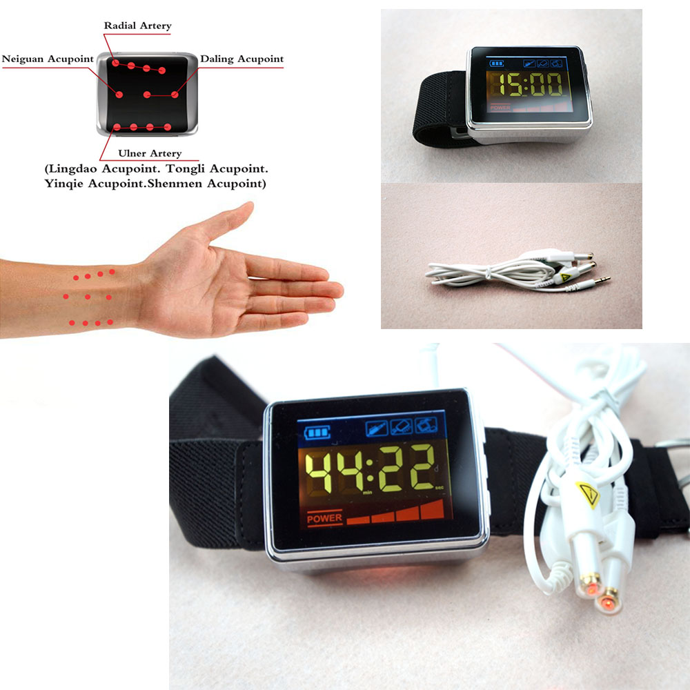 CE Approval Cardiovascular High Blood Cholesterol LLLT Physiotherapy Wrist Watch newest wrist type cardio watch soft laser physiotherapy lllt apparatus cold laser therapy high blood pressure device for sale