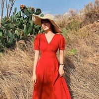 2019 Vintage elegant Cotton Linen Casual dress women beach dress Summer party Holiday dresses vestidos