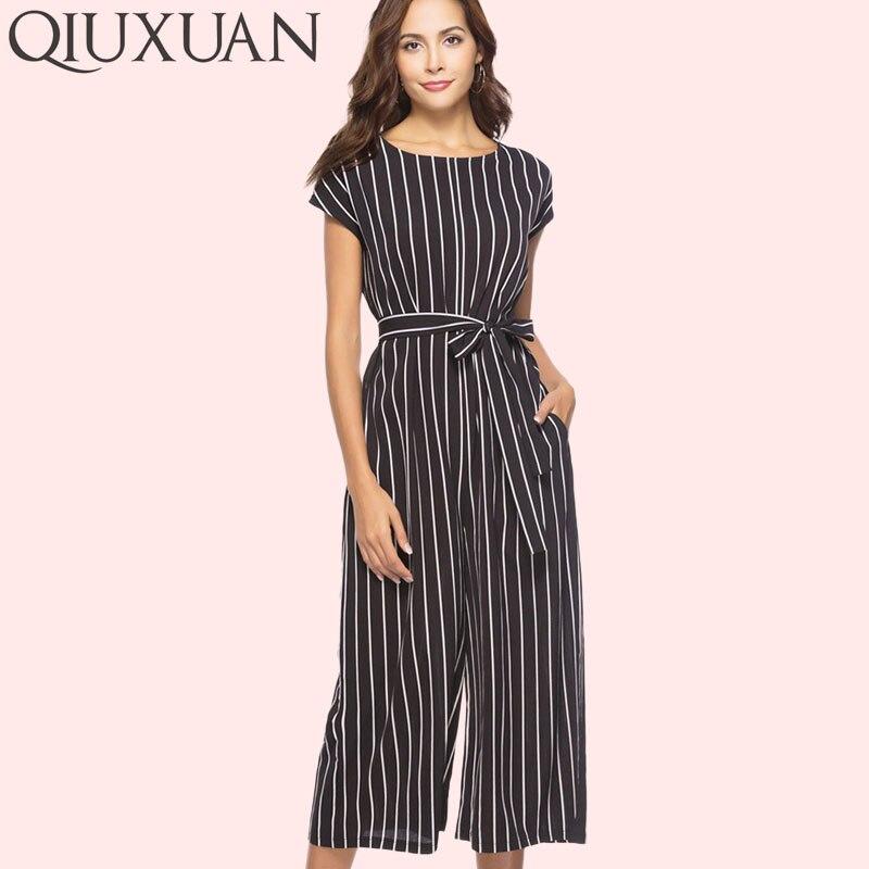 Women Solid Short Flare Sleeve Lace-up Pocket Waist Wide Leg Jumpsuits Women Slash Neck Elegant Overalls Women's Clothing