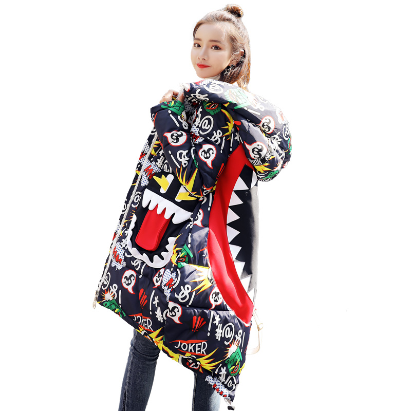 New Fashion   Parkas   mujer 2018 winter jacket women Printed Loose Thicken Warm Coat Hooded Cloak Padded Snow Down   Parka   plus size